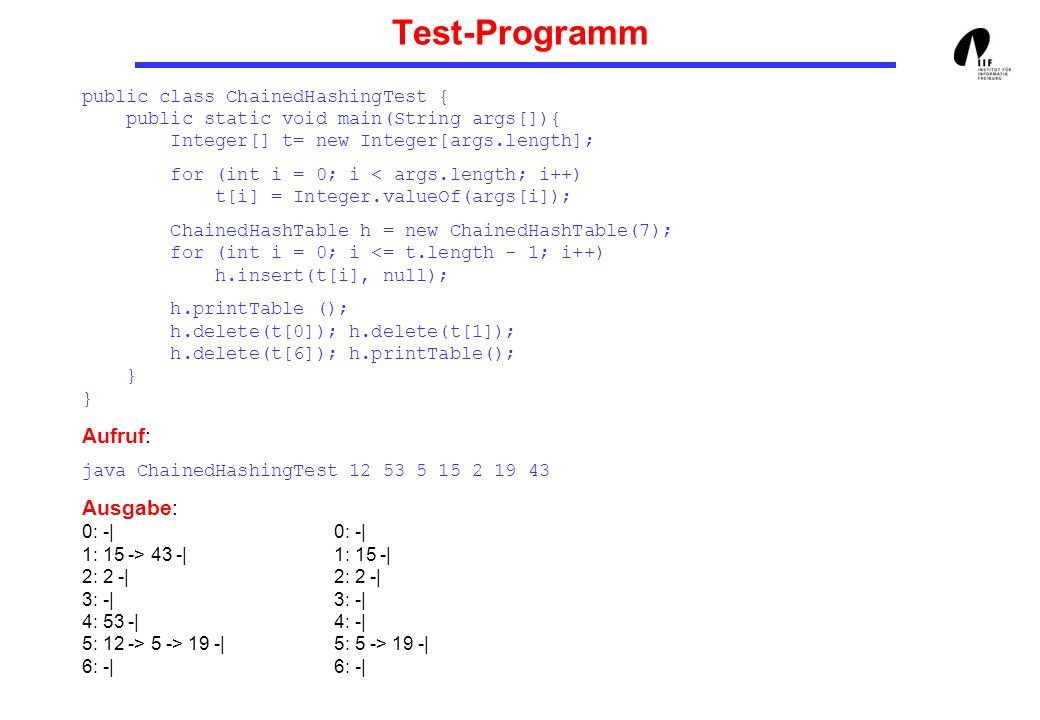 Test-Programmpublic class ChainedHashingTest { public static void main(String args[]){ Integer[] t= new Integer[args.length];